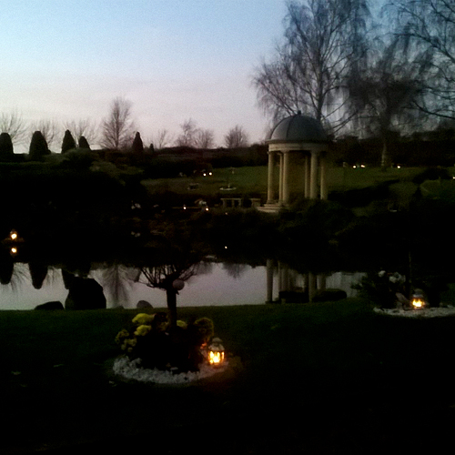 Portchester Memorial Temple at dusk
